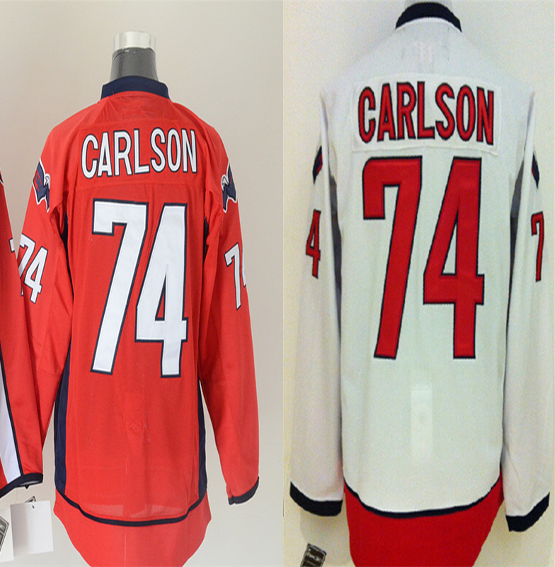 Men's John Carlson Jersey authentic #74 John Carlson Home Red white Stitched High quality Ice Hockey Jerseys Embroidery Logo(China (Mainland))