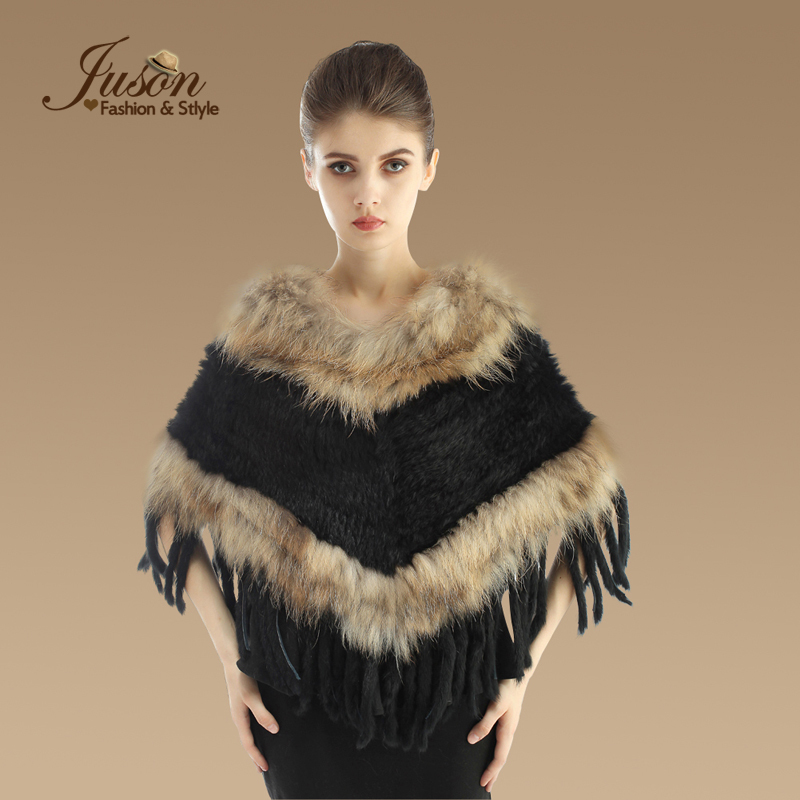 Natural Knitted Rabbit Fur Shawl With Raccoon Fur Collar Lady Fashion Rabbit Fur Poncho Wholesale Rabbit Fur Warp With Tassel(China (Mainland))