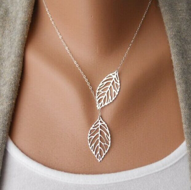 2015 Brand Designer Vintage Double Leaves Pendant Necklaces Collier Femme Clavicle Chain Women Collares Statement Necklace(China (Mainland))