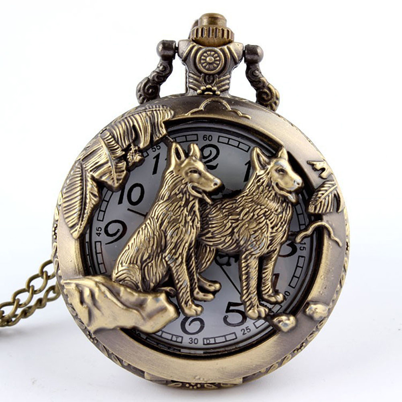 Free Shipping Bronze Wolf Hollow Quartz Pocket Watch Necklace Pendant Women Men's Gifts Hot Selling(China (Mainland))