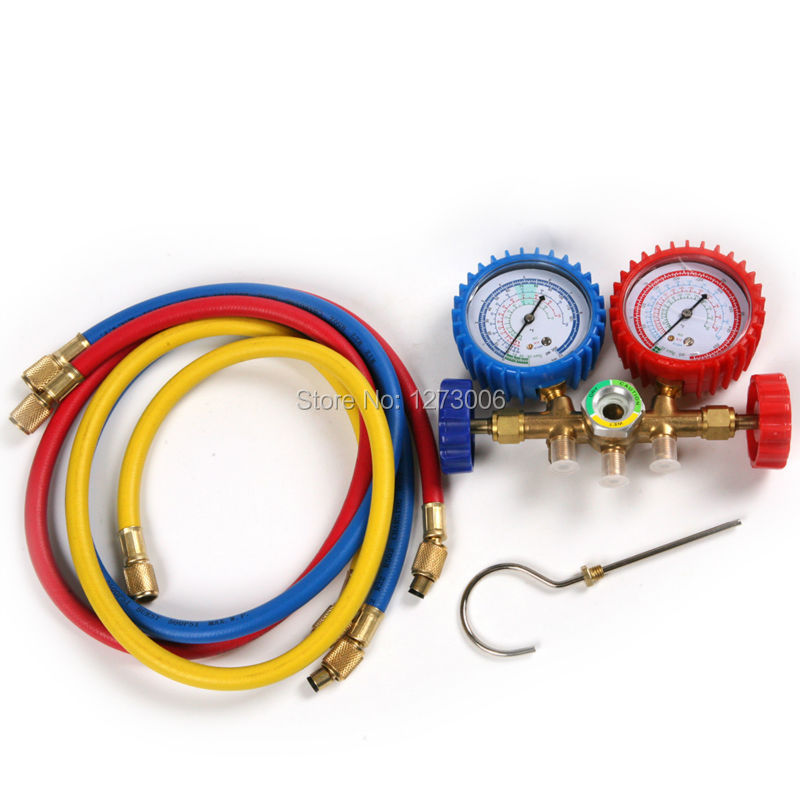 1Pcs R134A R12 R22 R502 Refrigerants Manifold Gauges Tools Set Double Table Valve Three Colored-hoses Car-Stying