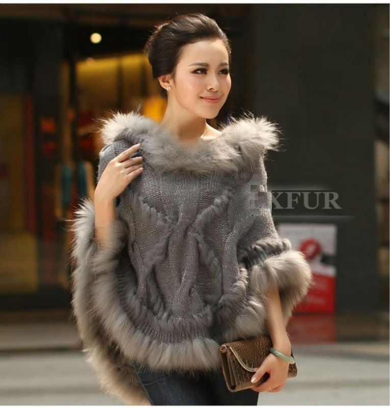 Casual Real Knitting Wool Hooded Poncho Raccoon Fur Trim Womens Fashion Hoody Solid Shawl One Size LX00298 - LuxuryFur store