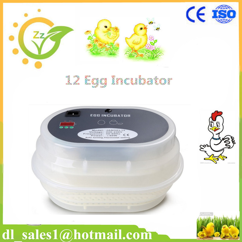Fully Digital Automatic Turner 12 Eggs Incubator Poultry Turning Quail Duck Incubator +Candle Gift CE Approved(China (Mainland))