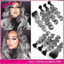 Brazilian body wave grey hair weave 3pcs with closure silver grey ombre hair extensions with closure 1b/grey human hair(China (Mainland))