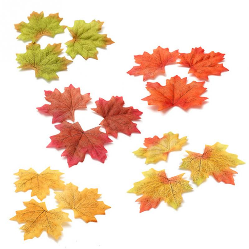 New 100Pcs Artificial Cloth Maple Leaves Multicolor Autumn Fall Leaf For Art Scrapbooking Wedding Bedroom Wall Party Decor Craft(China (Mainland))