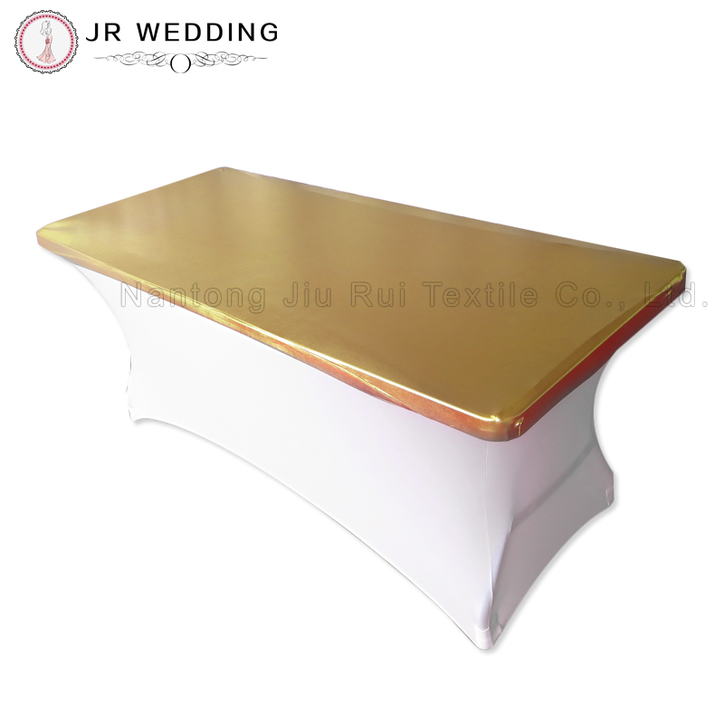 "30"" Depth x 72"" Gold Length Rectangular Metallic Bronzing Elastic Spandex Strech Table Topper(China (Mainland))"
