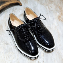 Plus Size 48 Women Creepers PU Patent Leather Shoes Woman Lace Up Platform Brogue Shoes Square Toe Footwear Creepers For Women(China (Mainland))
