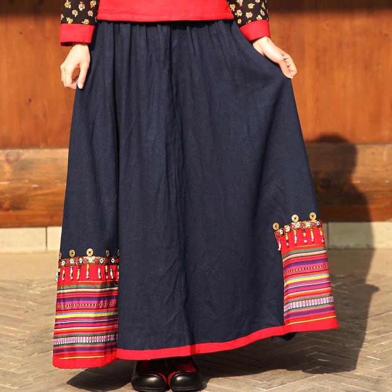 BOHOCHIC Original Vintage Bohemian Ethnic Women Cotton Linen Clothing Beading Large Hem Contrast Color A Line Skirt AZ0194Q Boho(China (Mainland))