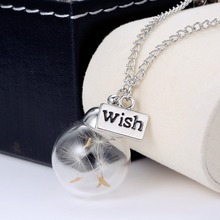 10PC Bottle Botanical Pendant Necklace For Women Free Shipping bottle Necklace Real Dandelion Seeds Water Drop(China (Mainland))