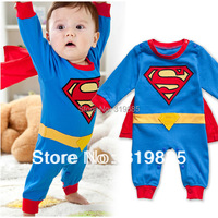2015 NEW Cute Baby Superman Long Sleeved Romper Infant Romper Halloween Jumpsuit Costume for baby boys