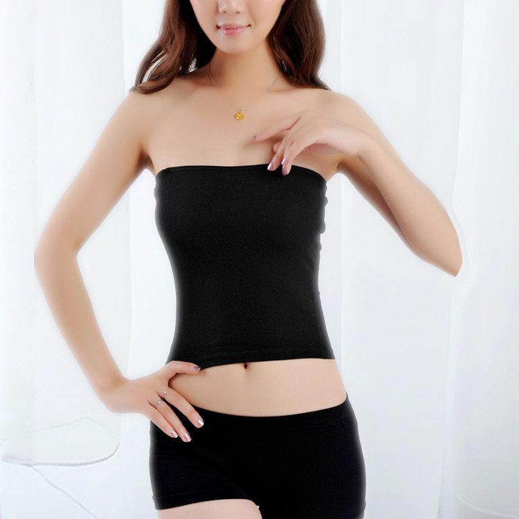 New Arrival 2015 Fashion Ladies Womens Girls Sexy Strapless Boob Tube Top Bamboo fiber Camisoles Bra Wrapped chest Vest Tops(China (Mainland))