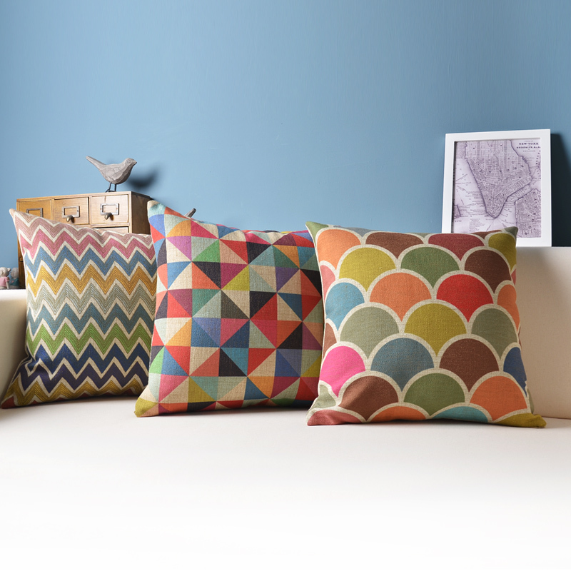 Geometric Cushion Decorative Pillows Colorful Cushions Home Decor/capa Para Almofada/cojines ...