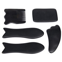 Hot Sale 5pcs Face Body Tool Set Waterproof Portable Black Chinese Traditional Gua Sha Acupuncture Massage