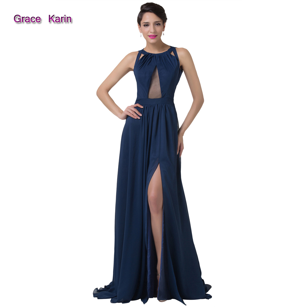 Sexy navy blue long backless evening dress front high for Navy evening dresses for weddings