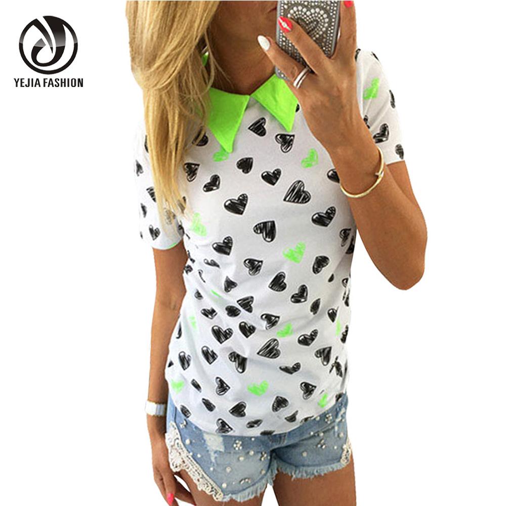 YeJia Heart Pattern Printed Casual T Shirt Women Short Sleeve Turn Down Collar Sexy Tee Shirt Femme Slim Shirts Tops Candy Color(China (Mainland))