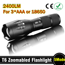 E17 CREE XM-L T6 2400Lumens cree led Torch Zoomable cree LED Flashlight Torch light For 3xAAA or 1x18650 Free shipping(China (Mainland))