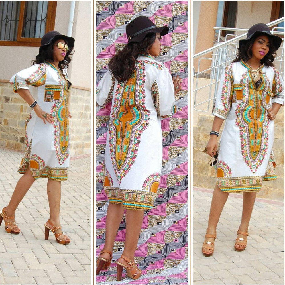 Dashiki fashion dress succunct african tranditional print dashiki