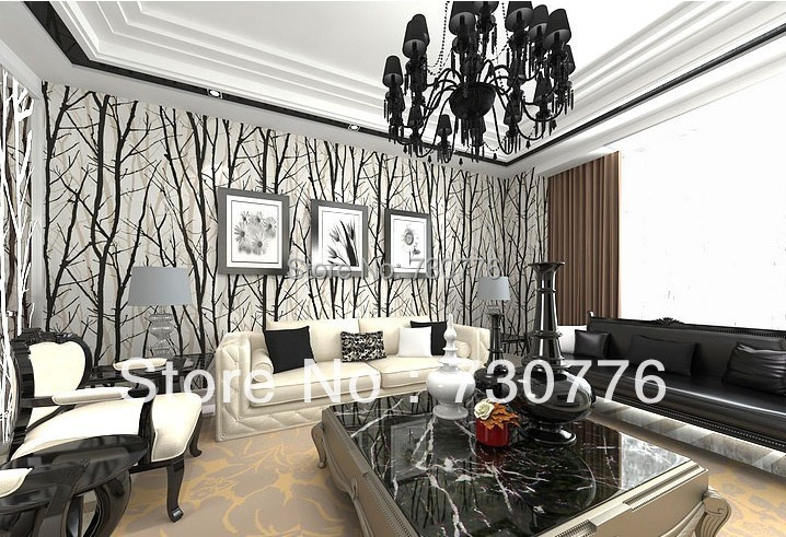 Modern brief style pvc wallpaper roll black white for Black and white wallpaper for bedroom
