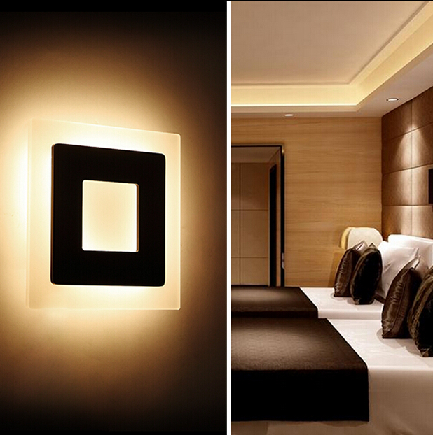 20x20cm Led Acryl Indoor wall lamps Black /White 12w Super Bright Acrylic wall sconce Bedding Room, Living Room, AC110-240V(China (Mainland))