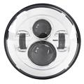 7 Chrome Motorcycle LED Front Headlight 4D Round D shaped Projector Lens High Low Beam For