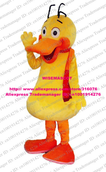 Active Yellow Duck Duckling Mascot Costume With A Few Hairs Thin Short Brows Bright Big Eyes Orange Flat Long Mouth No.5888 FS(China (Mainland))