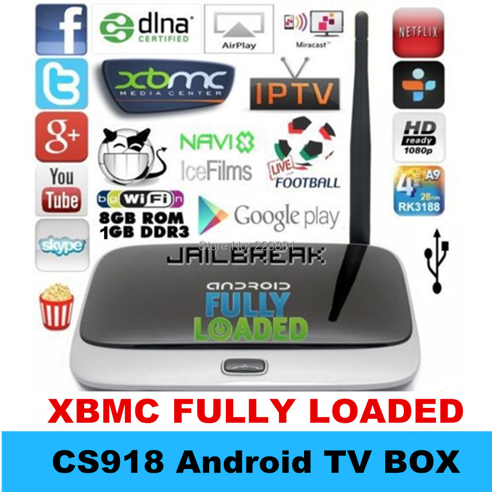 Vensmile XBMC Fully Load Android TV Box CS918 mk888 Smart tv box Full HD Media Player 1GB RAM 8GB ROM RK3188 Quad Core Bluetooth(China (Mainland))