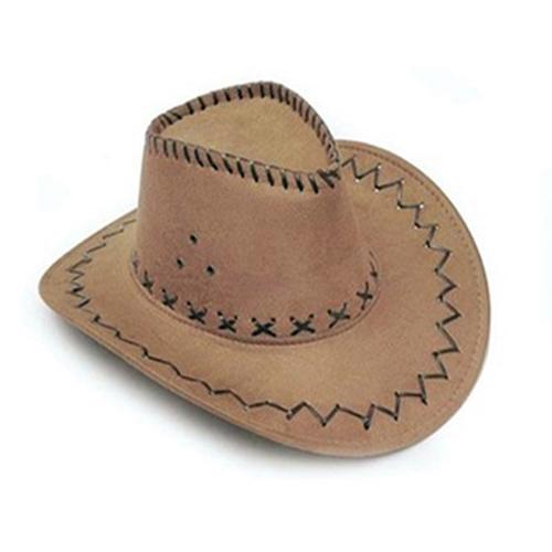 1Piece Fashion Cowboy Hat Suede Look Wild West Fancy Dress Mens Ladies Unisex Hats Khaki Useful