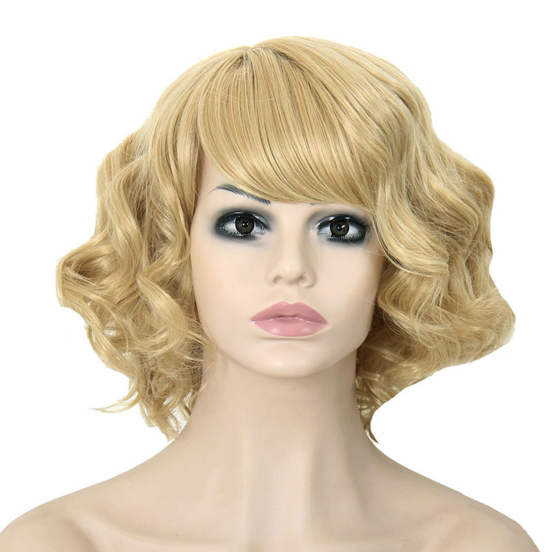 "12"" Beautiful Short Curly Hair Blonde Oblique Bangs Wig Cheap High Quality Synthetic Wig African American For Black Women's Wigs(China (Mainland))"