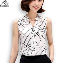 SAENSHING 2016 Summer Chiffon Blouse Mujer Printed Sleeveless Women Blouses White Striped Blusas Shirts Female Office kimono
