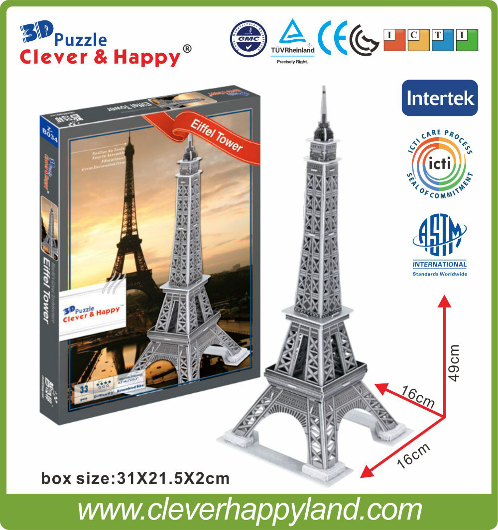 new clever&happy land 3d puzzle model Eiffel Tower adult puzzle diy paper warsaws model games for children paper(China (Mainland))