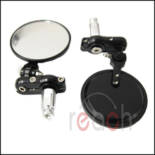 New Universal Pair Motorcycle CNC Aluminum Rearview espelho Mirror Handle bar End Black Side Mirror(China (Mainland))