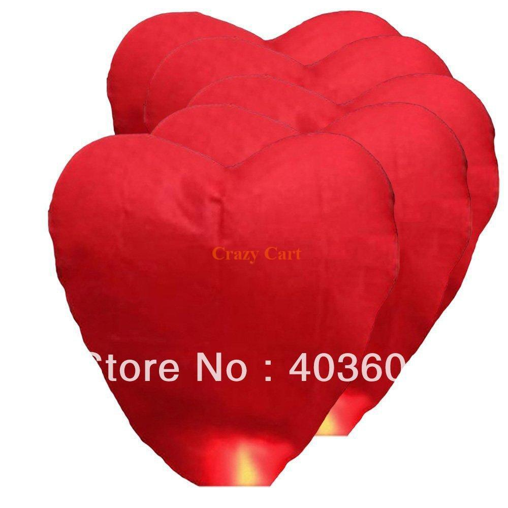 2pcs Red Heart Shaped Sky Lanterns Paper Lantern Lamps for Wishing Wedding Party Free Shipping Wholesale(China (Mainland))