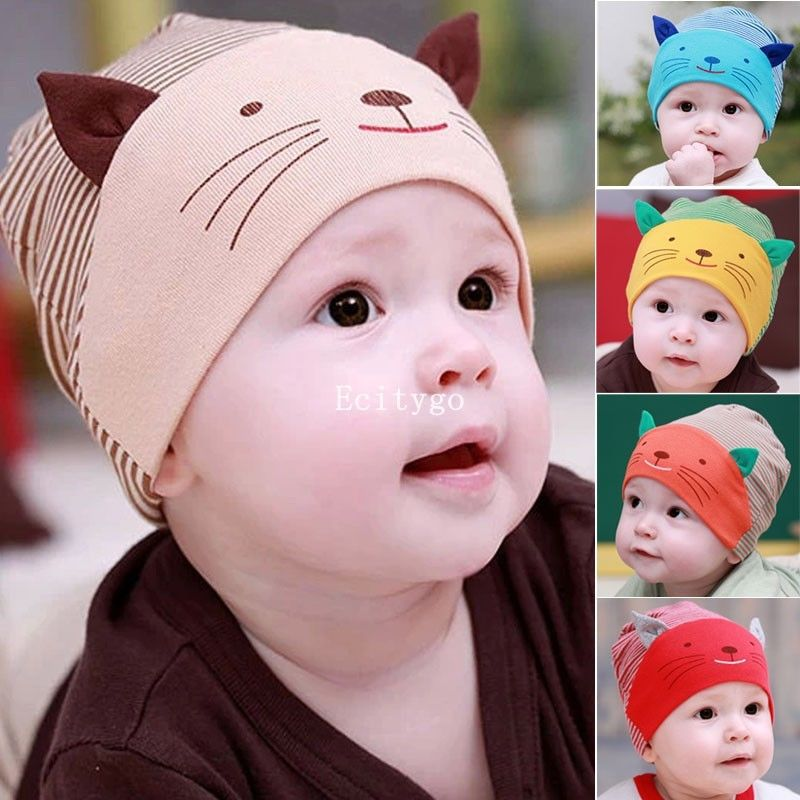 Fashion New Lovely Cute Baby Boy Toodler Infant Striped Cotton Cap Cat Baby Beanies Accessories Y1(China (Mainland))