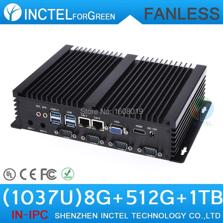 Fanless rugged industrial pc with Intel Celeron C1037U 1.8Ghz CPU auto boot USB 3.0 Dual Gigabit Lan 4 COM HDMI small micro pc(China (Mainland))