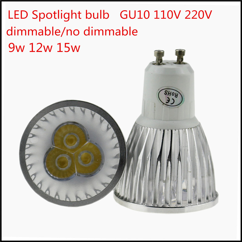 1X Super Bright LED GU10 Bulb 9W 12W 15W 110V 220V AC Dimmable Led Spotlights GU10 LED lamp Warm/cool white free shipping(China (Mainland))