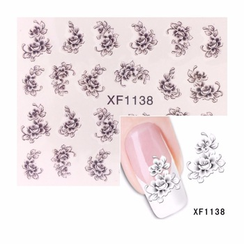 YZWLE 1 Sheet Black Flower Designs Water Decals Nail Stickers French Tips Nail Art Decorations For Nails Tools 1138