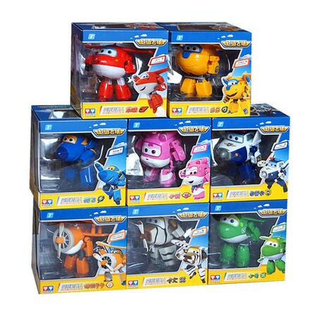 4pcs/set!!! Super Wings 15cm Big Planes Deformation Airplane Robot Action Figures Transformation Toys Boys Birthday Gift Full(China (Mainland))