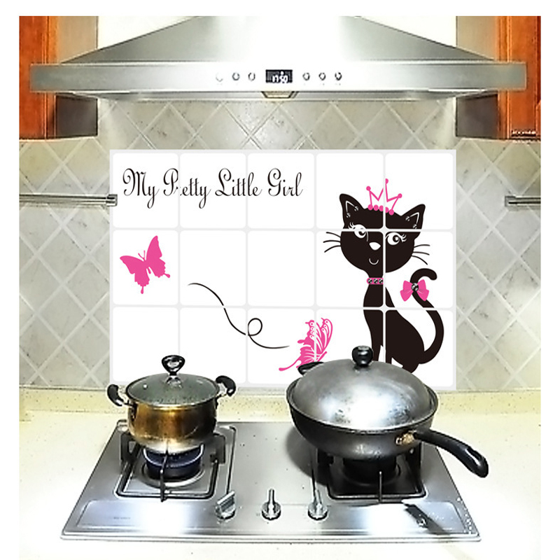 75*45CM Black cat Princess Kitchen Wall Stickers Decal Home Decor Art Accessories Decorations Supplies Gear Items Stuff Products(China (Mainland))