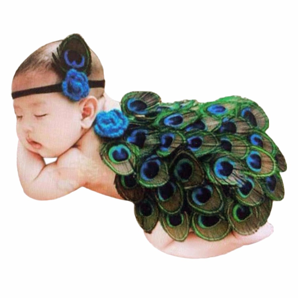 Lovely Fashion Costume Boy Girl Kid Peacock Headband Knit Crochet Photography Prop Costume Outfit Sets Hot 03C0167(China (Mainland))