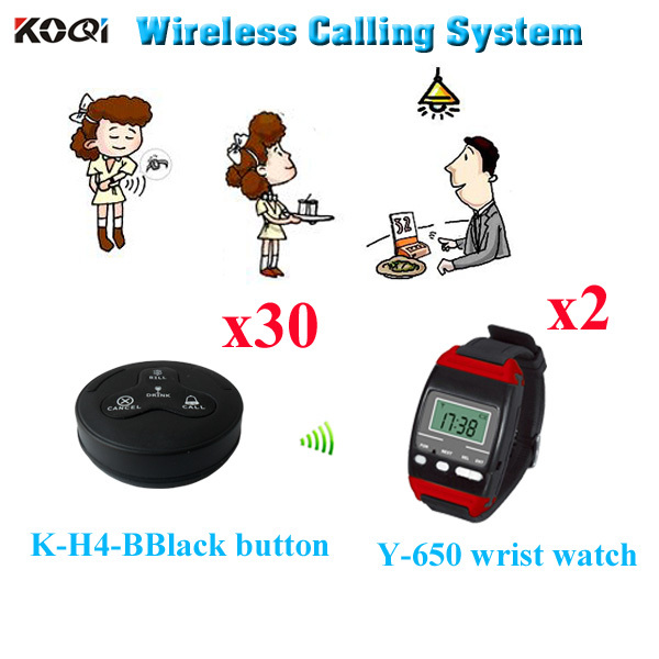 Restaurant Call Systems Best Price New Arrival Catering Equipments Suit For Hotel (2pcs wrist watch+ 30pcs call button)(China (Mainland))