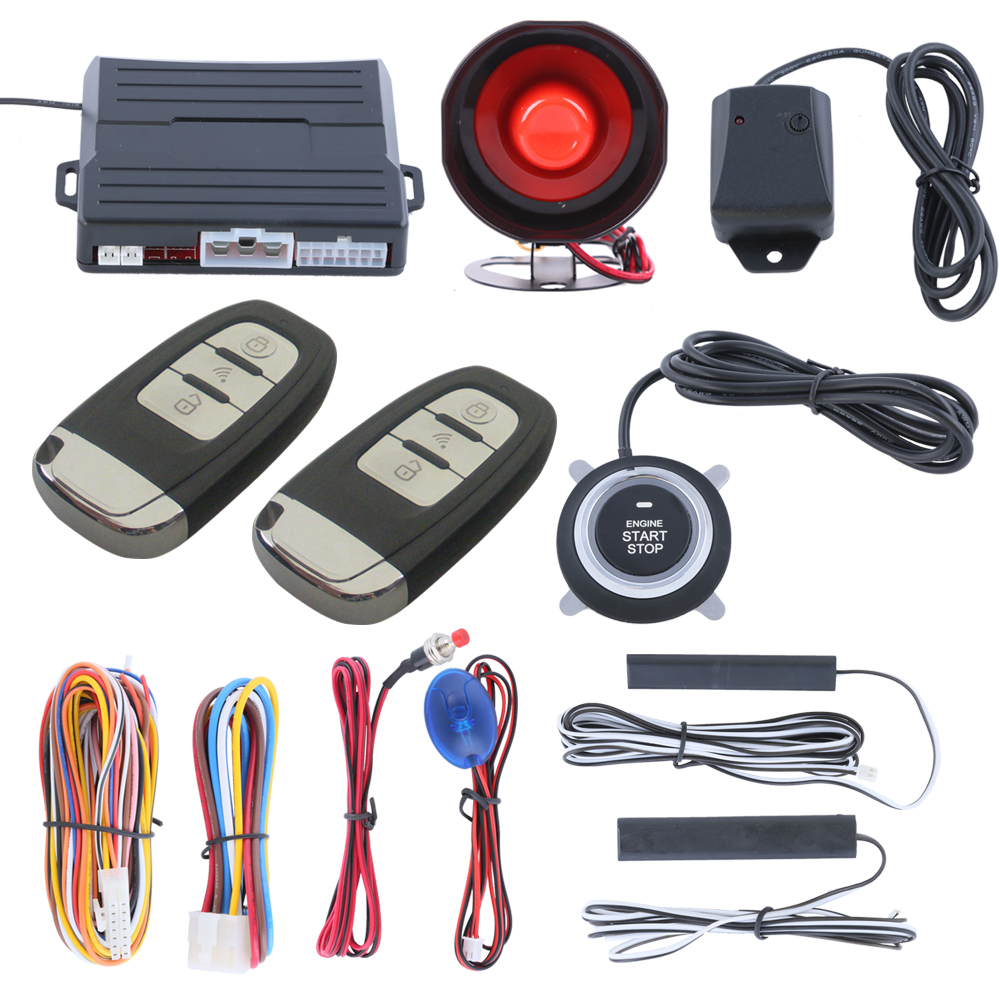 Intelligent PKE car alarm system with remote engine start push start automatic owner identify vibration alarm keyless go(China (Mainland))