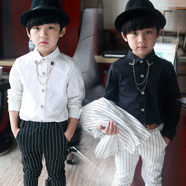 Formal Occasion Baby Shirt With Dress collar chain Black