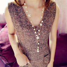 1pc korean womens fashion simulated pearl flowers long necklace jewelry gold tone sweet sweater chains colar(China (Mainland))