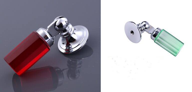 Fashion deluxe glass crystal shaky knobs silver drawer cabinet knobs pulls red blue yellow crystal furniture decoration handles