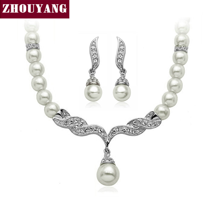 ZHOUYANG Top Quality ZYS003 Angle's Wing Silver Color Wedding Jewelry Necklace Earring Set Made with Austrian Crystals