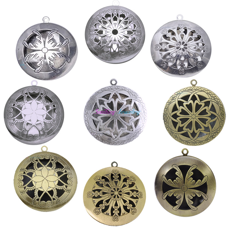 10pcs Mix Round Hollow Vintage Aromatherapy Lockets Essential Oil Diffuser Memory Photo Lockets Pendants For Perfume DIY(China (Mainland))