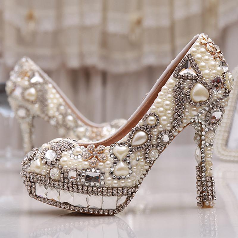Nightclub Party Wedding Shoes Rhinestone Platform High Heels Crystal  Diamond Bridal Pumps Women Pearl Prom Shoes Size 33-43<br><br>Aliexpress