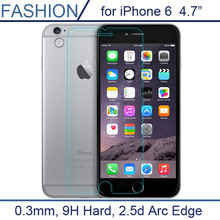 0.3mm Premium Tempered Glass for iPhone 6 4.7 inch 9H Hard 2.5D Arc Edge High Transparent Screen Protector with Clean Tools