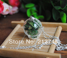 Free ship!! 20sets/lot silver color 25*15mm glass globe & crown base & cap& necklace set  glass vial pendant glass cover(China (Mainland))