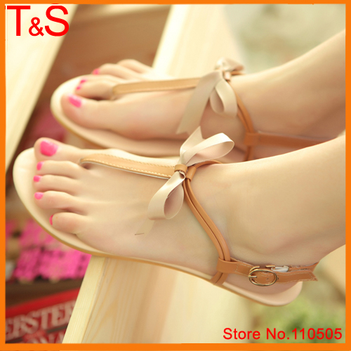 Size 36-39 Sweet Women Sandals Summer Open Toe Ankle Strap Party Beach Flip-flops Flats Ladies Bow Gold Shoes 7707<br><br>Aliexpress